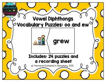 Vowel Diphthongs Vocabulary Puzzles: oo and ew Set
