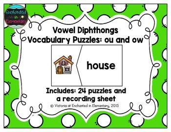 Vowel Diphthongs Vocabulary Puzzles: ou and ow Set