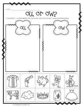 Vowel Diphthongs Worksheet Sorts