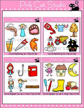 Vowel Diphthongs and Digraphs Clip Art Bundle - Phonics Clipart Set