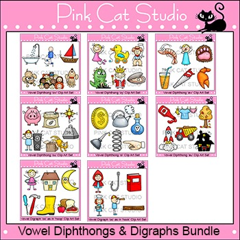 Vowel Diphthongs and Digraphs Clip Art Bundle - Phonics Cl
