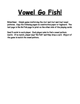 Vowel Family Go Fish