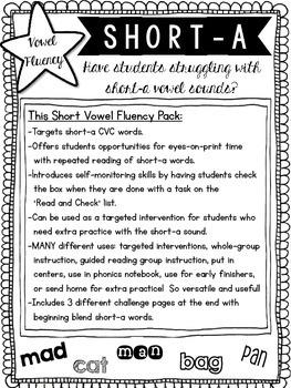 Vowel Fluency: Short A {CVC Words}
