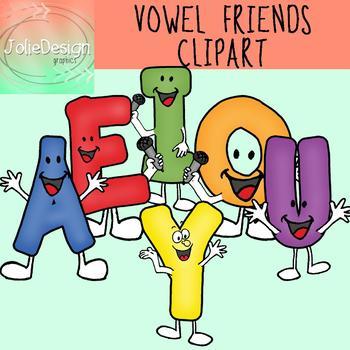 Vowel Friends Clipart Set - Color and Line Art 12 pc set