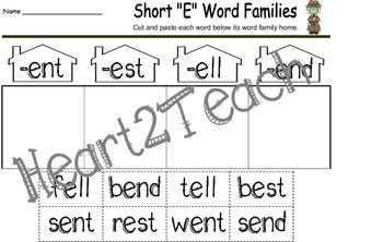 """Vowel Letter """"E"""" Activity Set"""
