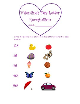 Vowel Letter Recall-Valentine's Day