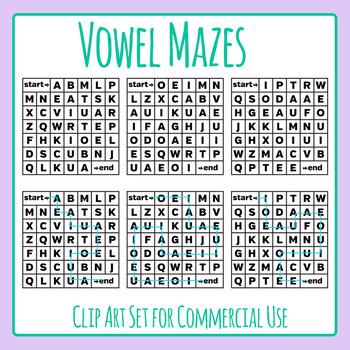 Vowel Mazes Clip Art Set for Commercial Use