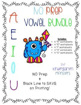 Vowel No Prep Worksheet Bundle {PreK/Kindergarten/Grade 1}