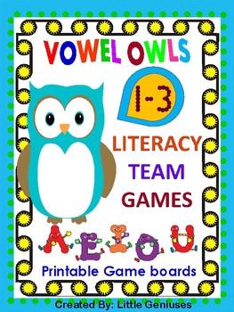 Vowel Owls~ Short Vowel Word Team Games