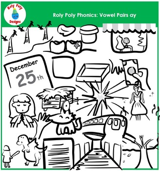 Vowel Pair AY Phonics Clip Art by Roly Poly Designs