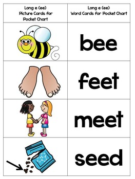 Vowel Pair EE and EA - Phonics Instruction Using SORTS, POETRY, and SIGHT WORDS