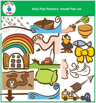 Vowel Pair OW Phonics Clip Art by Roly Poly Designs