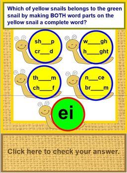 Vowel Pairs - AI, AU, AY, EA, EE, EI, IE, OO, OU, UE- Letter Wheels  SMARTboard