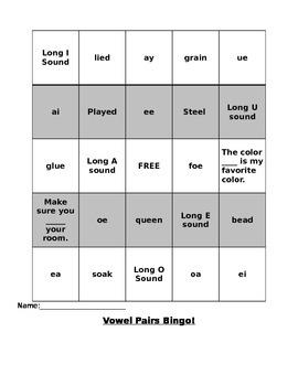 Vowel Pairs Bingo Game