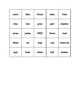 Vowel Pairs Bingo oa and ow