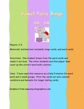 Vowel Pairs Bingo oa and ow