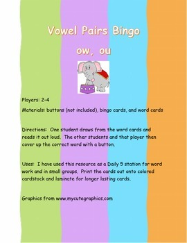 Vowel Pairs Bingo ow and ou