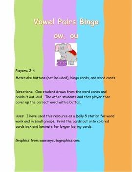 Vowel Pairs Bingo ow and ou