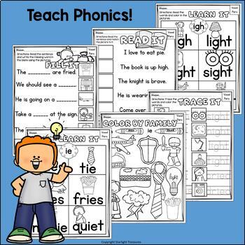 Vowel Pairs IGH, IE Worksheets and Activities for Early Readers - Phonics