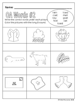 Vowel Pairs - OA, OE, and OW - Lesson Packet