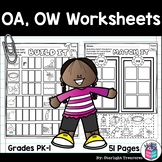 Vowel Pairs OA, OW Worksheets and Activities for Early Readers - Phonics