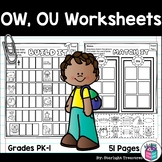 Vowel Pairs OW, OU Worksheets and Activities for Early Readers - Phonics