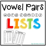 Vowel Pairs Spelling Lists