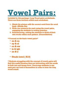 Vowel Pairs- The Basics