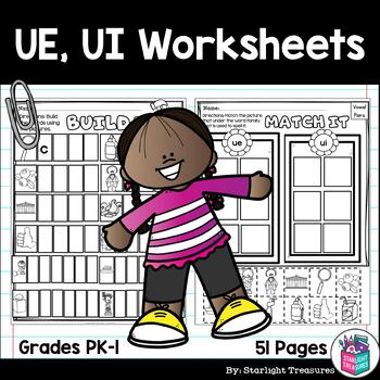 Vowel Pairs UE, UI Worksheets and Activities for Early Readers - Phonics