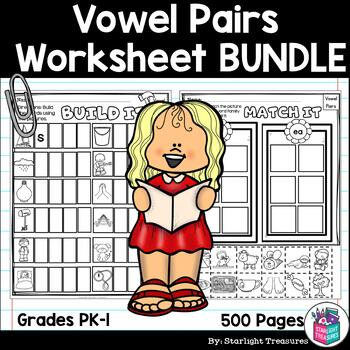 Vowel Pairs Worksheets and Activities Bundle -  Phonics