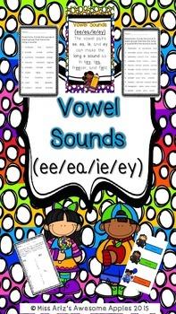 Vowel Pairs - ee/ea/ey/ie - Long e Sound  - Phonics Grades 3-6