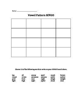 Vowel Pattern BINGO