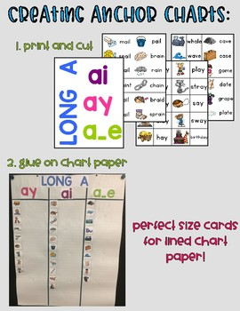 Long Vowel Sound Wall Picture and Word Cards