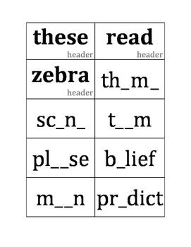 Vowel Pattern Sorts