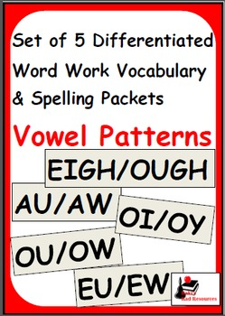Vowel Patterns - Set of 5 Differentiated Word Work and Vocabulary Packets