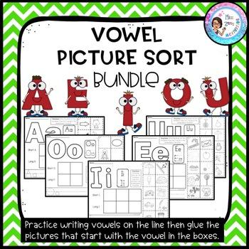 Vowel Picture Sort Bundle - 5 Sorts: A, E, I, O, U