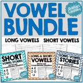 Vowel Practice BUNDLE - short and long vowel passages and comprehension!