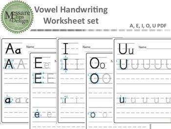 Vowel Practice Handwriting Worksheet Set {Messare Clips and Design}
