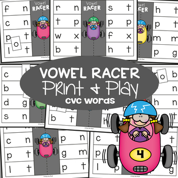 cvc Words Game - Vowel Racer - Print & Laminate Game