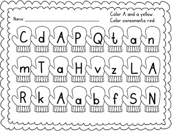 Vowel Recognition Printables {Colorful Mittens}