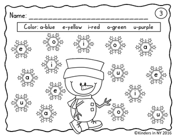 Vowel Recognition Printables (Winter Theme)