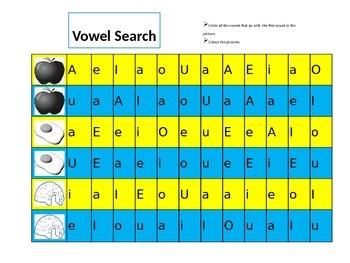 Vowel Recognition Worksheet