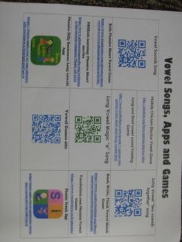 Vowel Songs, Games, App resource sheet