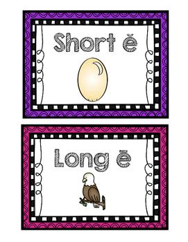 "Vowel Sort--Long & Short ""E"" (Color & Blackline)"