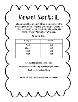 Vowel Sort: Short & Long E