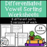 Long and Short Vowels Differentiated Worksheets for Word Work