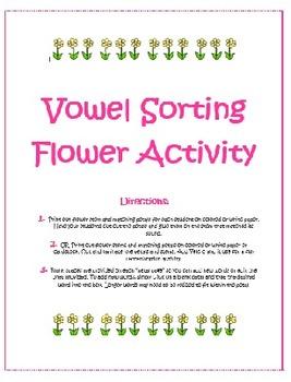 Vowel Sorting Flowers- A, E, I, O, and U