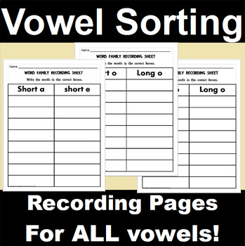 Vowel Sorting Recording Pages