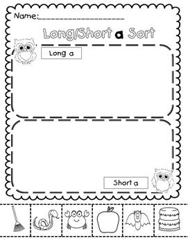 Vowel Sorting Sheets