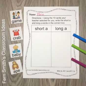 Vowel Sorting - Short a and Long a Center Games, Printables and More